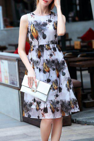 Trendy Lotus Seed Print Sleeveless Dress