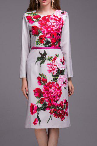 Latest Slimming Long Sleeve Floral Print Dress