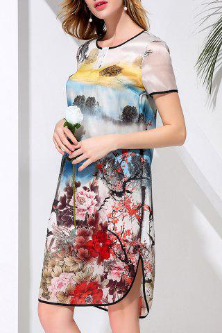 Shop Asymmetric Round Neck Flower Print Dress
