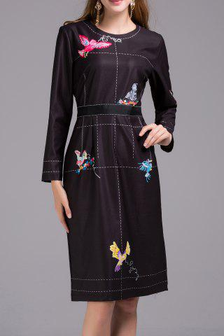 Fancy Bird Print Long Sleeve Dress