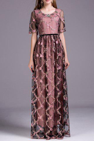 Fashion Floral Embroidered Floor Length Dress