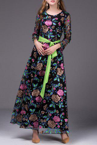Fashion Floral Embroidered Belted Long Dress