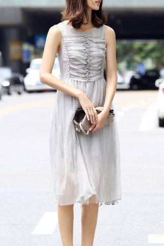 Latest Ruched Solid Color Pleated Dress