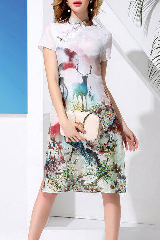 Affordable Mandarin Collar Sheep and Flower Print Dress
