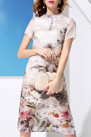 Fashion Stand Collar Flower Pattern Dress