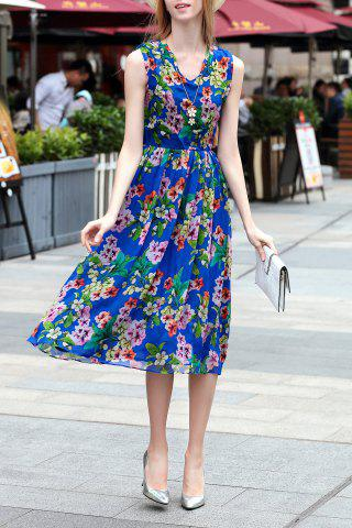 Trendy V Neck Flower Pattern Midi Dress