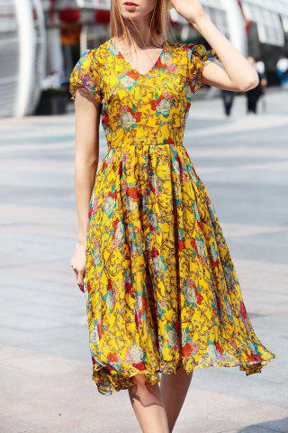 New Short Sleeve Floral Print Midi Chiffon Dress