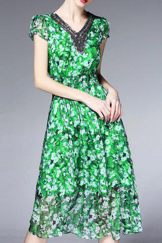 New Beaded Silk Floral Dress