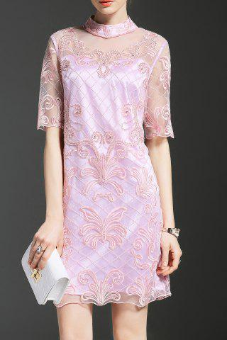 Latest Embroidered Stand Collar See Through Dress