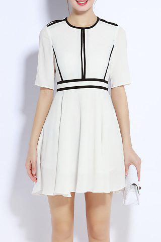 Chic Round Neck Back Zipper Waisted Dress