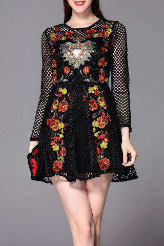 Cheap Floral Embroidered Openwork Mini Dress
