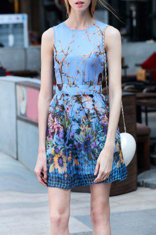 Latest Short Sleeveless Floral Dress