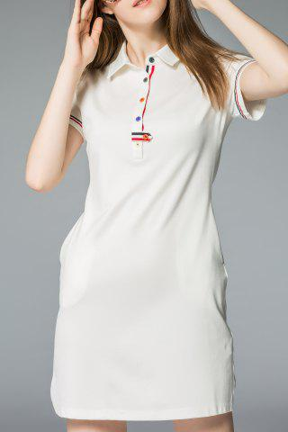 Store Polo Collar Single Breasted T-Shirt Dress