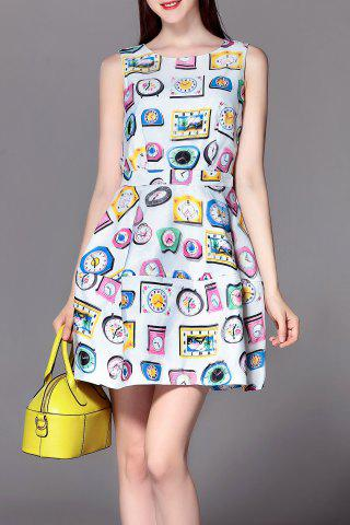 Buy Sleeveless Clock Print Mini Dress
