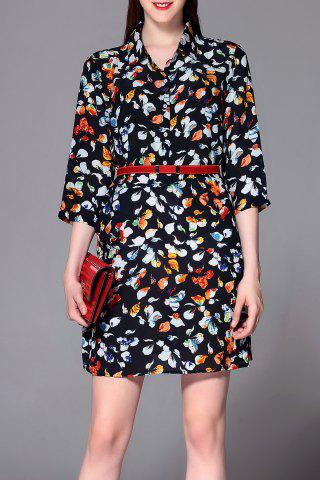 Fancy Print Belted Mini Dress