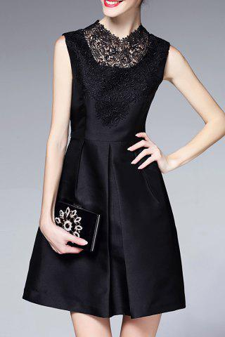 Online Lace Splicing Little Black Dress