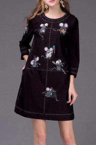 Shops Mouse Embroidered Shift Dress