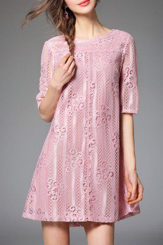Store Bowknot Lace A Line Half Sleeve Dress