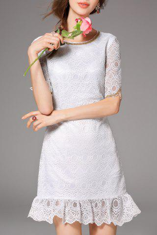 Fancy Beaded Lace Ruffles Half Sleeve Dress
