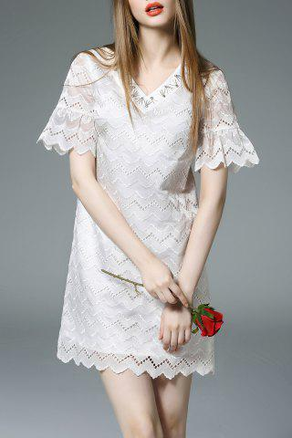 Affordable V Neck Beaded Hollow Out Bell Sleeve Dress