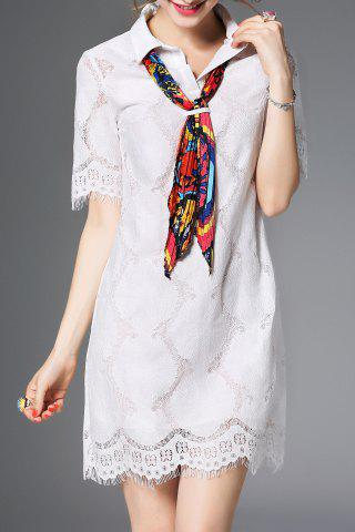 Best Polo Collar Lace Shift Dress