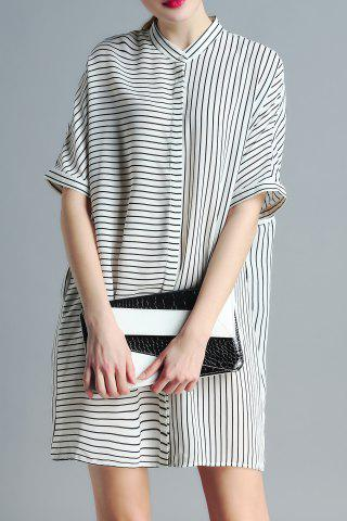 Store Stand Neck Striped Loose Fitting Dress