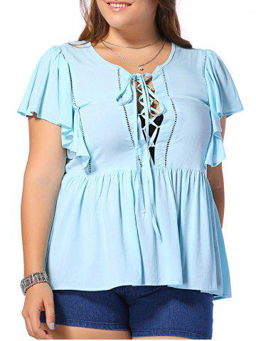 Trendy Fashionable Plus Size Dolman Sleeves Opening Thorax Frenum Scoop Neck Blouse For Women LIGHT BLUE 4XL