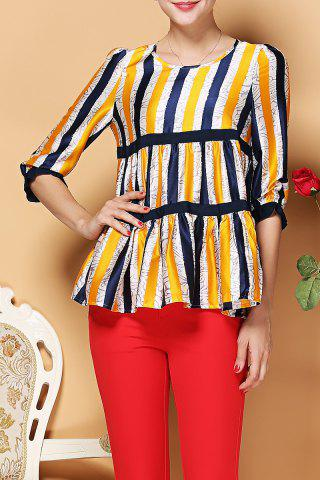Discount Color Blcok Striped Blouse