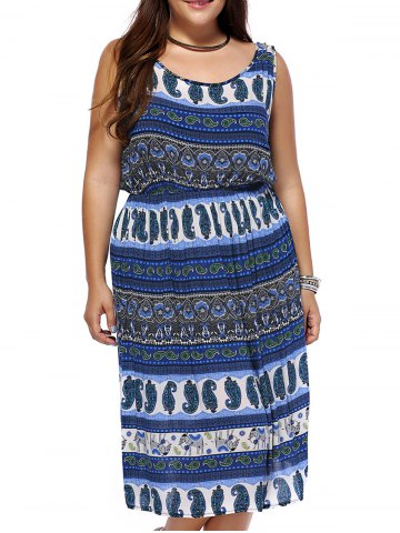 Sale Bohemian Women's Plus Size Sleeveless Full Print Dress