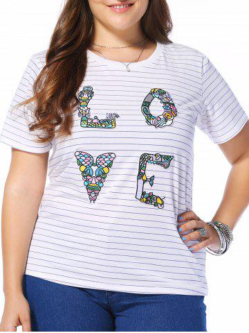 Unique Plus Size Striped LOVE Graphic Tee
