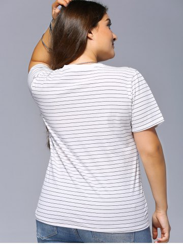 Chic Plus Size Striped LOVE Graphic Tee - 2XL BLACK Mobile