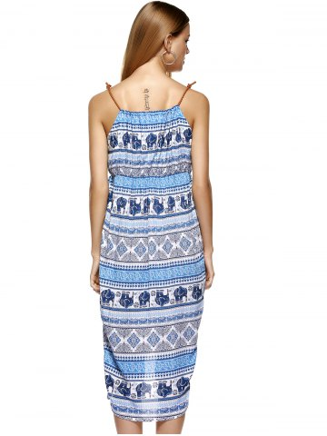 Online Fashionable Knitted Gallus Printing Asymmetric Dress For Women - XL MEDIUM BLUE Mobile