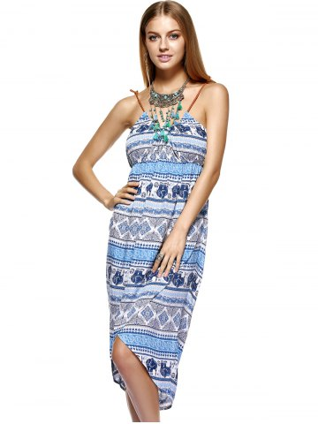 Online Fashionable Knitted Gallus Printing Asymmetric Dress For Women - M MEDIUM BLUE Mobile