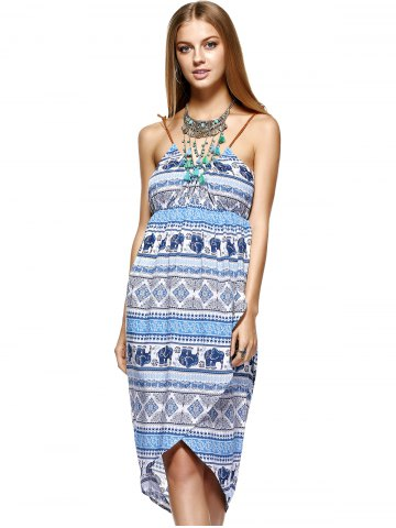 Outfit Fashionable Knitted Gallus Printing Asymmetric Dress For Women - M MEDIUM BLUE Mobile
