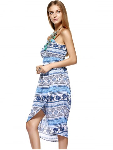 Discount Fashionable Knitted Gallus Printing Asymmetric Dress For Women - M MEDIUM BLUE Mobile