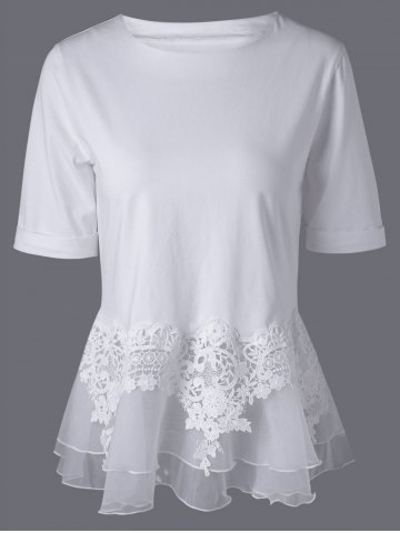 Lace Splicing Layered Peplum Blouse - White - L