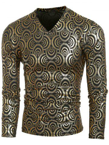 Unique V-Neck Metal Style Geometric Pattern  Long Sleeve T-Shirt For Men