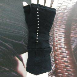 Pair of Chic Black Long Knitted Fingerless Gloves For Women - BLACK