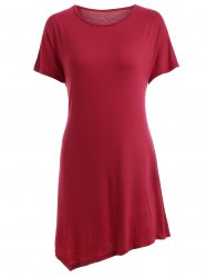 Stylish Scoop Neck Short Sleeve Asymmetrical T-Shirt For Women