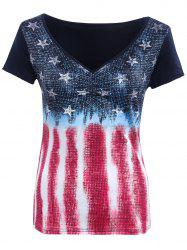 Stylish Grid Star Striped Print Women's T-Shirt