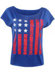 Stylish Slash Neck Star Striped Print Women's T-Shirt -