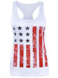 Chic Racerback Star Striped Women's Tank Top - WHITE