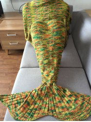 Chic Quality Mixed Color Mermaid Tail Design Knitting Blanket For Adult - COLORMIX