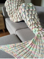 High Quality Fish Scale Shape Mermaid Tail Design Knitting Blanket For Adult -