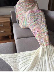 Stylish Colorful Crochet Knitting Mermaid Tail Design Sleeping Blanket For Adult
