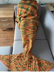 Super Soft Knitting Mermaid Tail Shape Swaddle Sleeping Blanket For Adult - COLORMIX