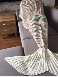 Fashionable Stripe Design Mermaid Tail Shape Knitting Blanket For Adult - COLORMIX