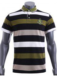 Slim Fit Short Sleeves Stripe Polo T-Shirt For Men