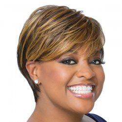 Fluffy Skilful Oblique Bang Natural Straight Short Mixed Color Synthetic Wig For Women