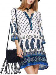 Paisley Print Mini Tunic Shift Bohemian Dress - WHITE